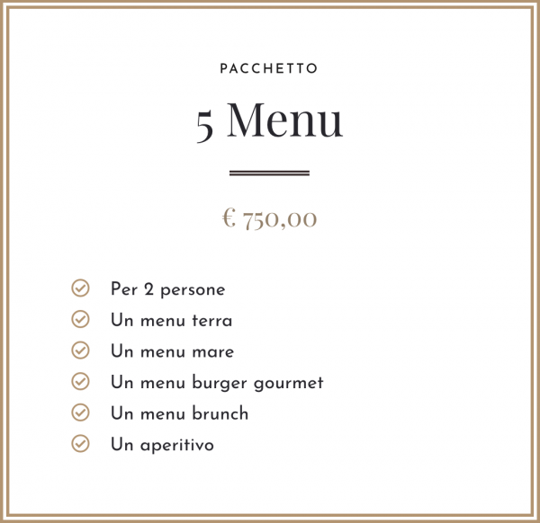 Pacchetto - 5 Menu